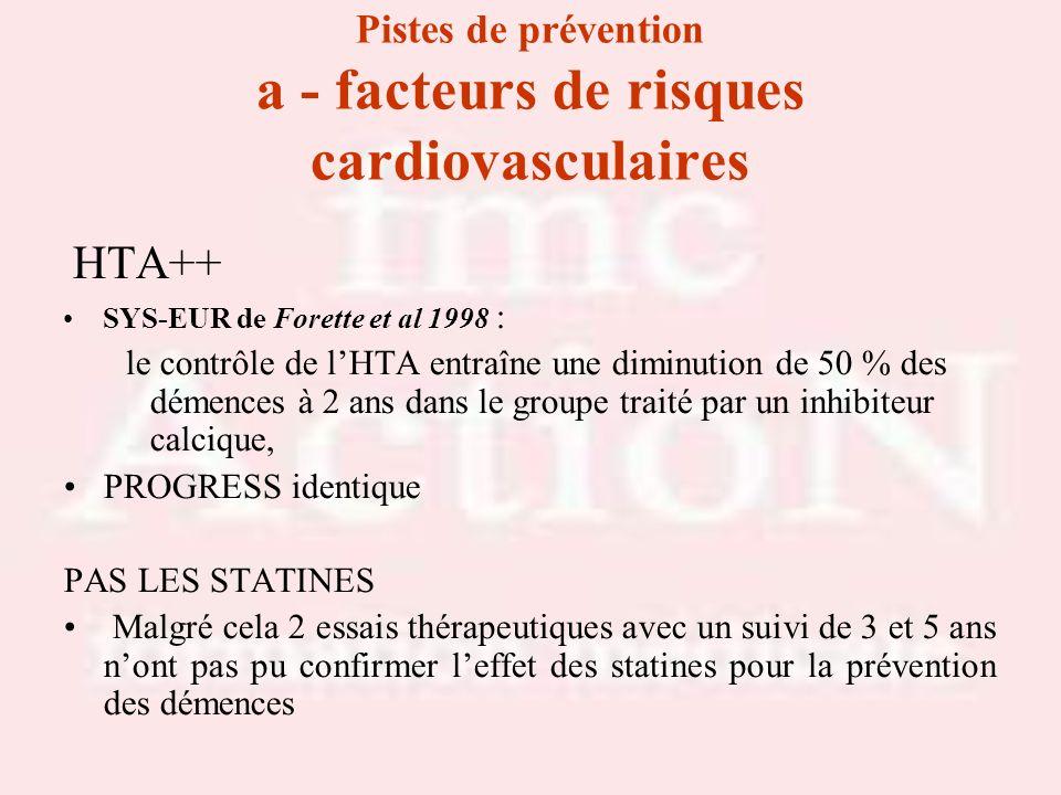 Pistes de prévention a - facteurs de risques cardiovasculaires