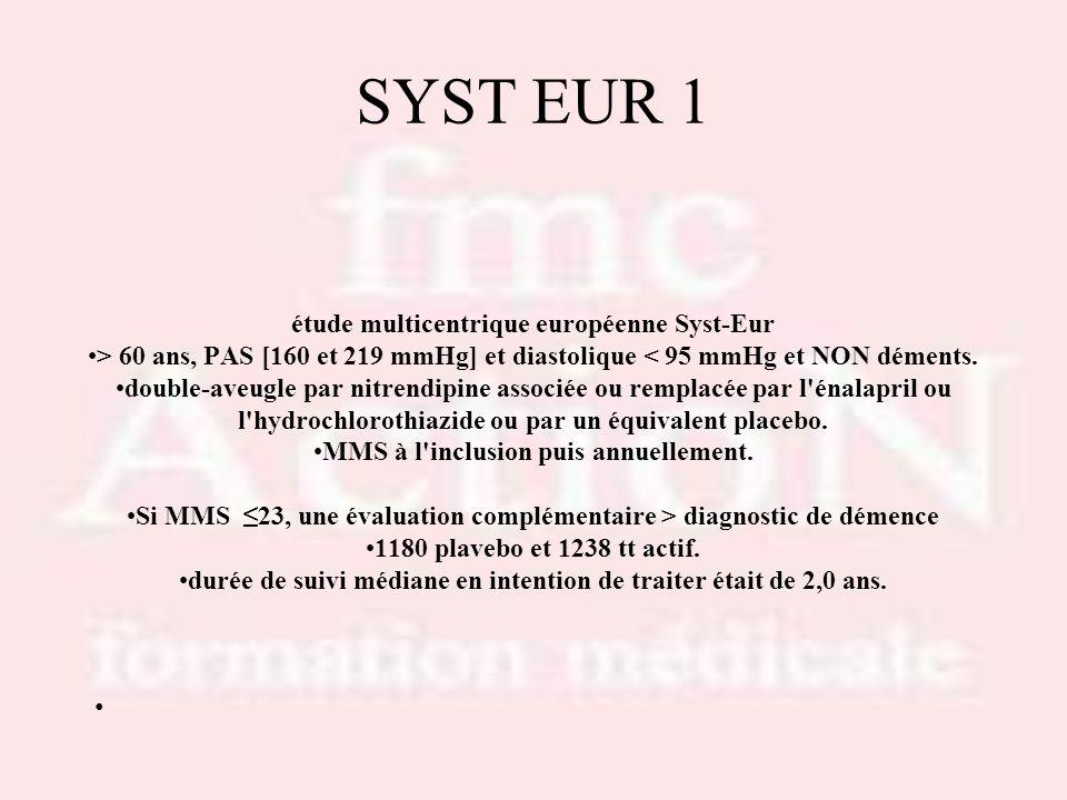 SYST EUR 1 étude multicentrique européenne Syst-Eur