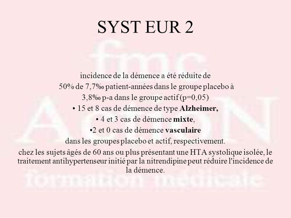 SYST EUR 2 incidence de la démence a été réduite de