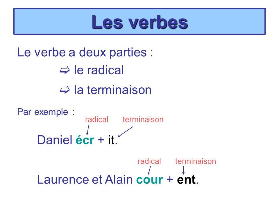 Les verbes Le verbe a deux parties :  le radical  la terminaison