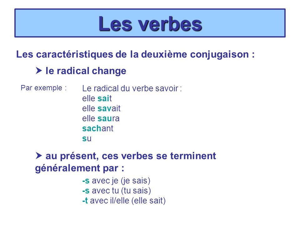 Les verbes Les caractéristiques de la deuxième conjugaison :