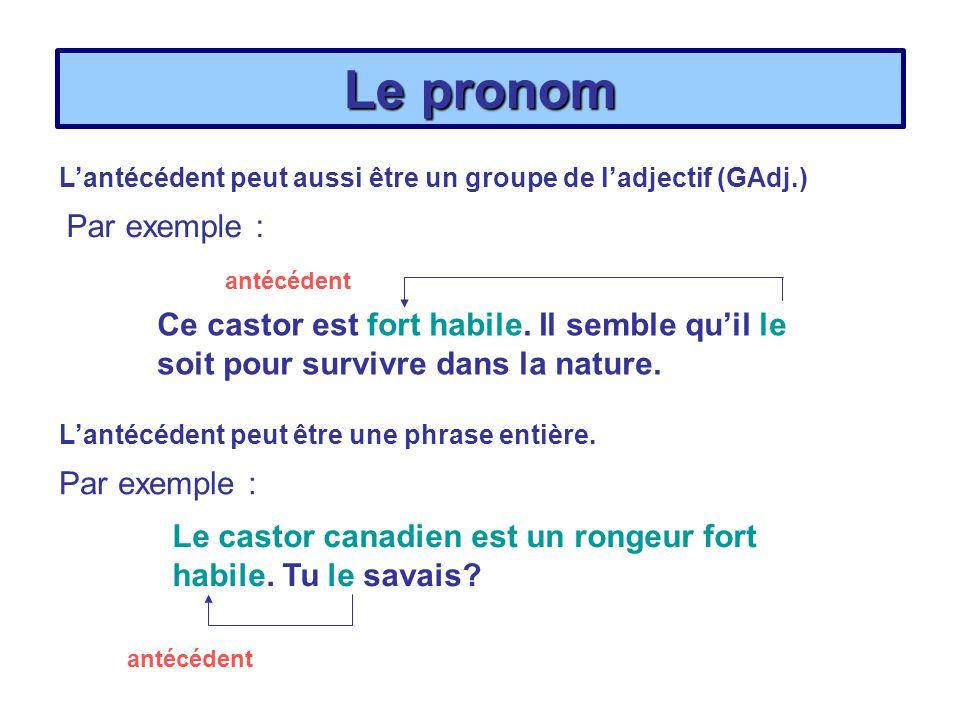 Le pronom L'antécédent peut aussi être un groupe de l'adjectif (GAdj.) Par exemple : antécédent.