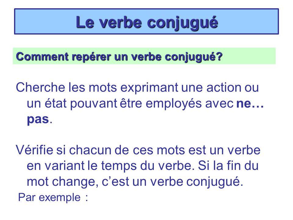 le verbe conjugu u00e9 comment rep u00e9rer un verbe conjugu u00e9