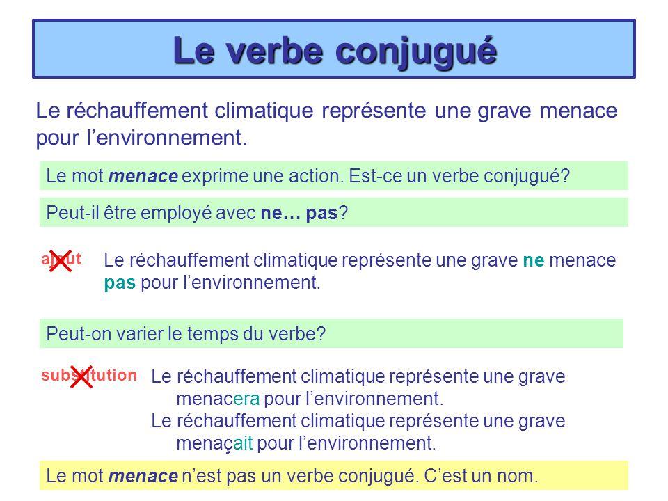 Le verbe conjugué Le réchauffement climatique représente une grave menace pour l'environnement.
