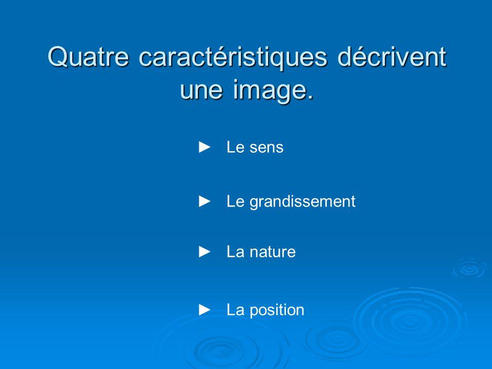 Quatre caractéristiques décrivent une image.