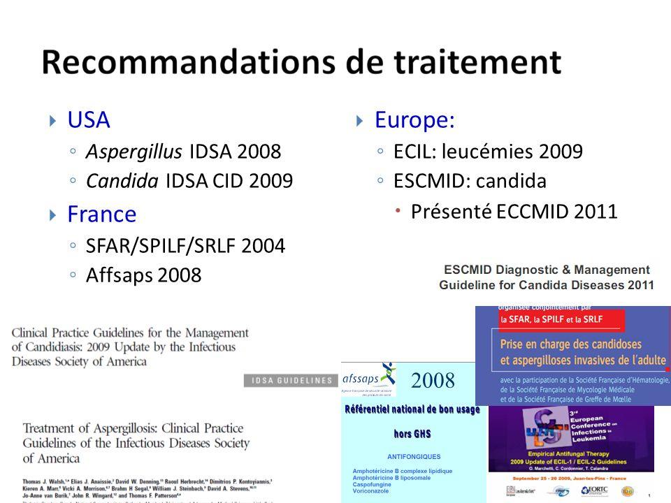 USA France Europe: Aspergillus IDSA 2008 Candida IDSA CID 2009