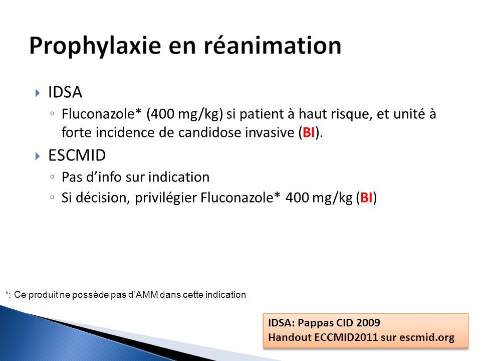 IDSA Fluconazole* (400 mg/kg) si patient à haut risque, et unité à forte incidence de candidose invasive (BI).
