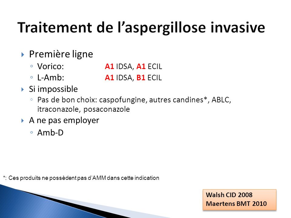 Première ligne Vorico: A1 IDSA, A1 ECIL L-Amb: A1 IDSA, B1 ECIL