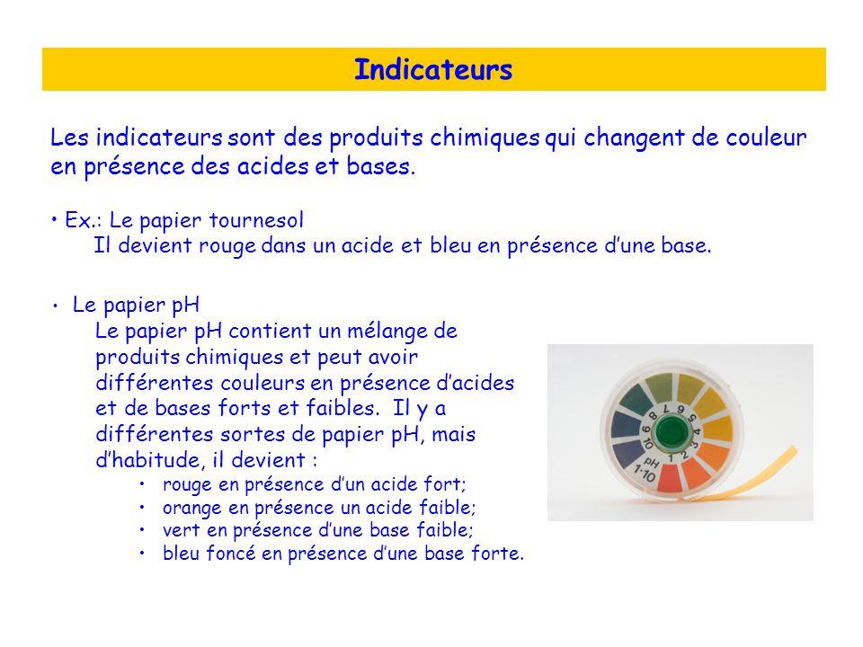 Indicateurs Les indicateurs sont des produits chimiques qui changent de couleur en présence des acides et bases.