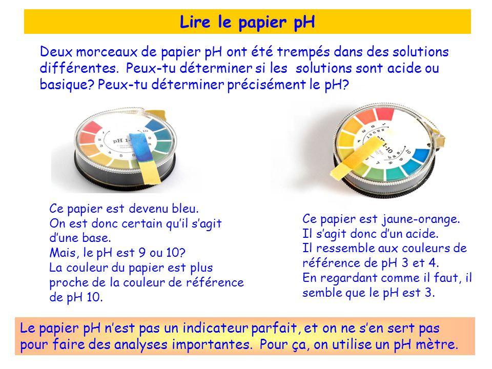 Lire le papier pH