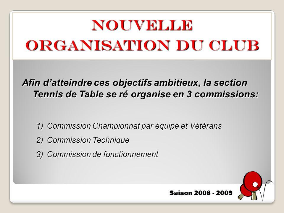 NOUVELLE ORGANISATION DU CLUB