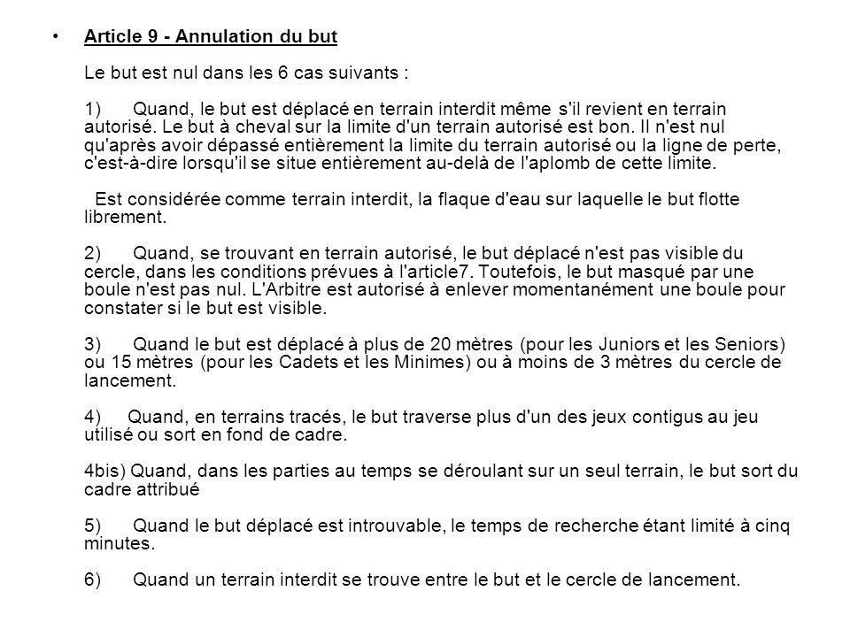 Article 9 - Annulation du but Le but est nul dans les 6 cas suivants : 1) Quand, le but est déplacé en terrain interdit même s il revient en terrain autorisé.