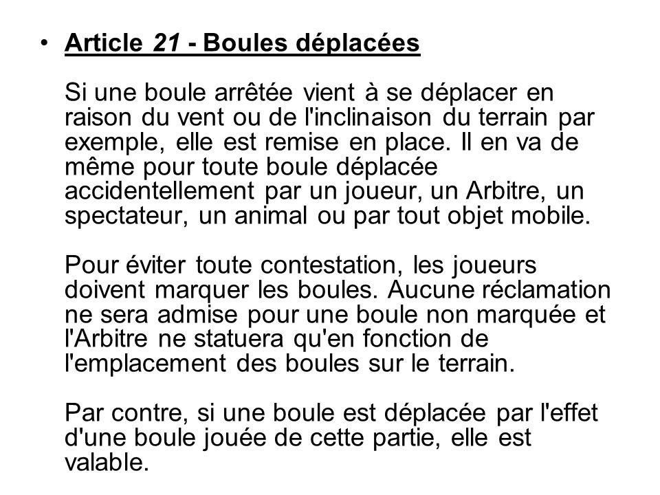 Article 21 - Boules déplacées Si une boule arrêtée vient à se déplacer en raison du vent ou de l inclinaison du terrain par exemple, elle est remise en place.