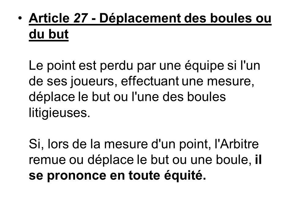 Article 27 - Déplacement des boules ou du but Le point est perdu par une équipe si l un de ses joueurs, effectuant une mesure, déplace le but ou l une des boules litigieuses.