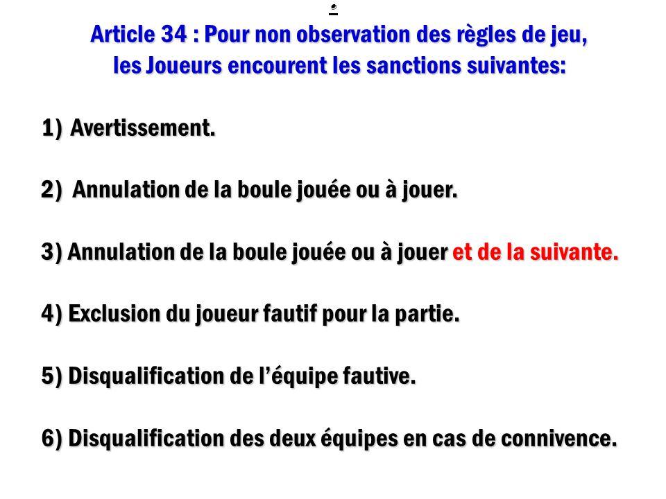 : Article 34 : Pour non observation des règles de jeu,