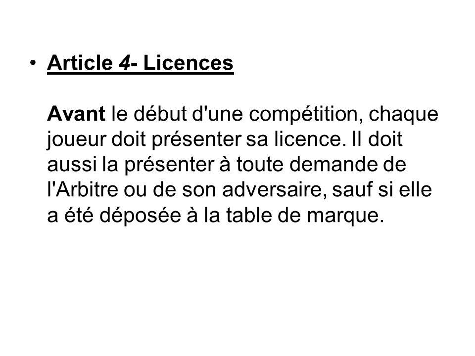 Article 4- Licences Avant le début d une compétition, chaque joueur doit présenter sa licence.