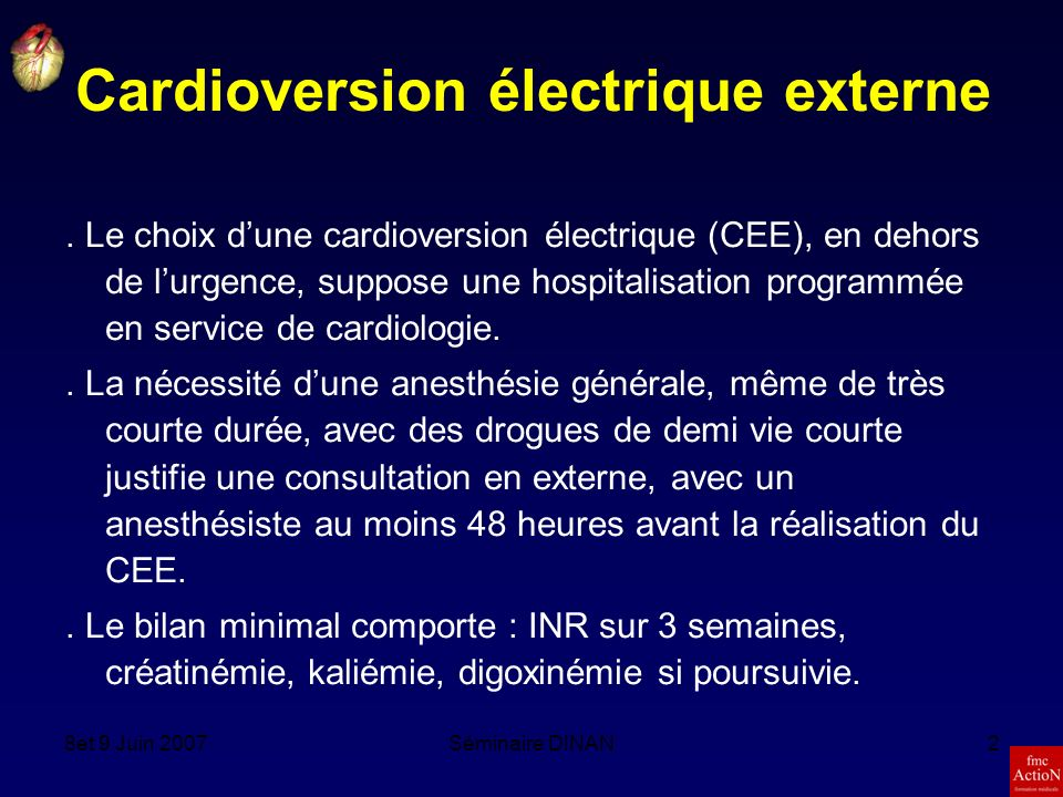 Cardioversion électrique externe
