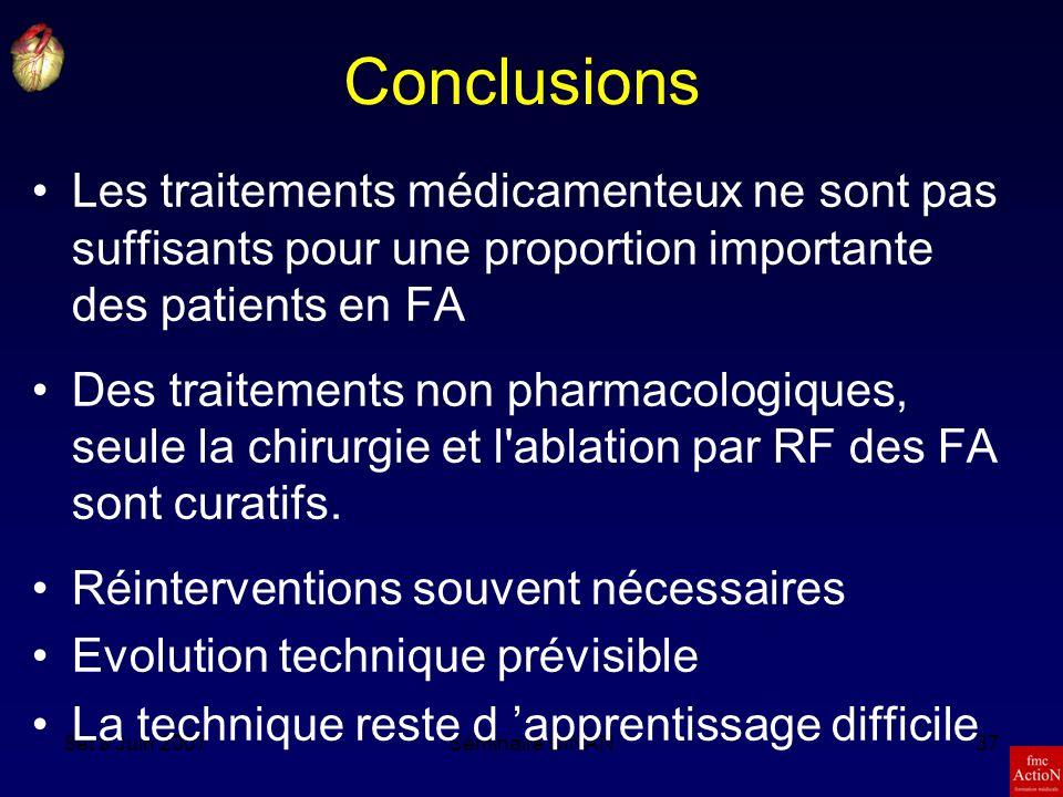 Conclusions Les traitements médicamenteux ne sont pas suffisants pour une proportion importante des patients en FA.