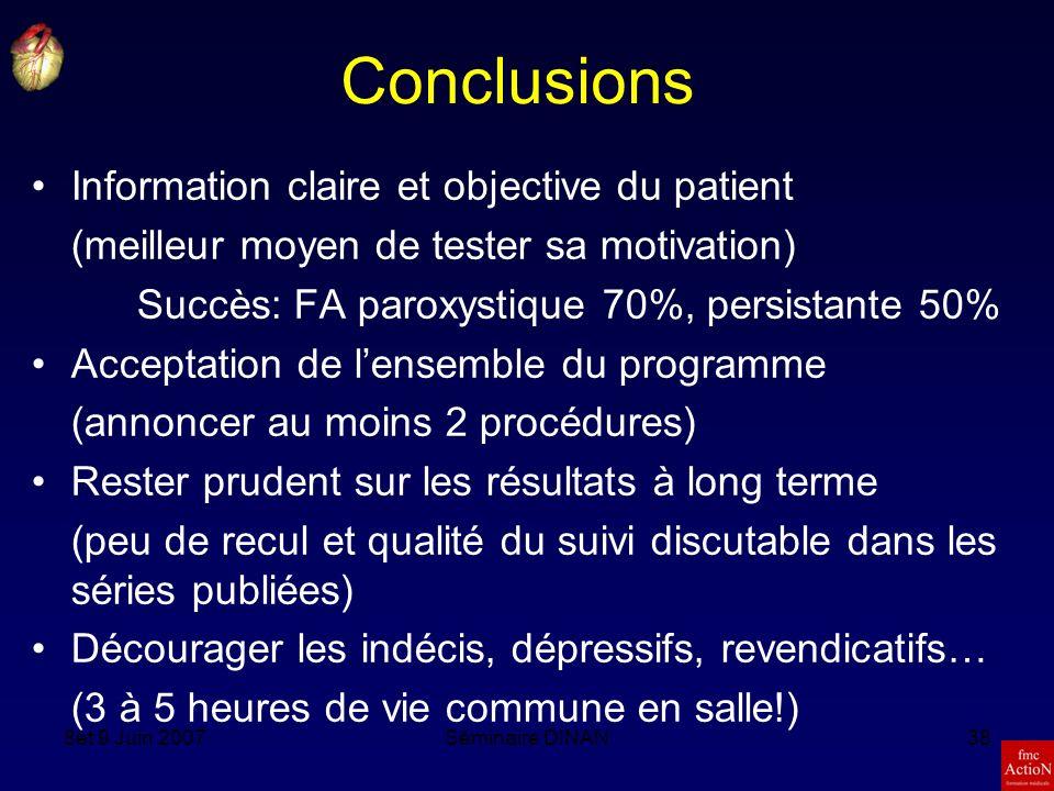 Conclusions Information claire et objective du patient