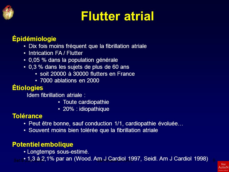Flutter atrial Épidémiologie Étiologies Tolérance Potentiel embolique