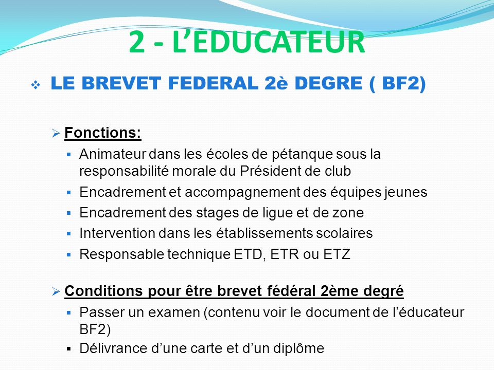 2 - L'EDUCATEUR Fonctions: