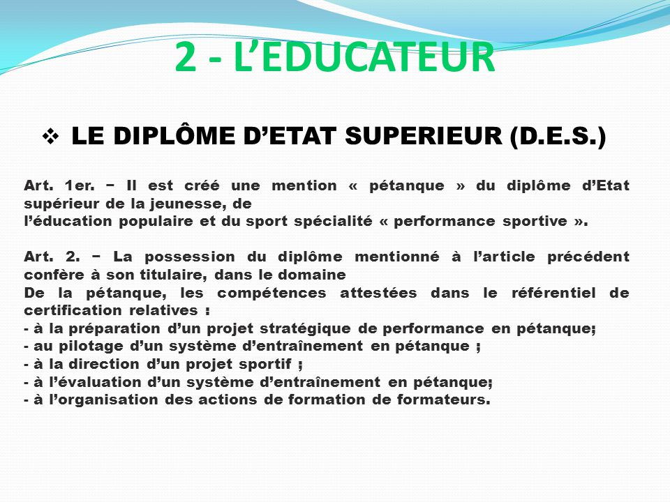 2 - L'EDUCATEUR LE DIPLÔME D'ETAT SUPERIEUR (D.E.S.)