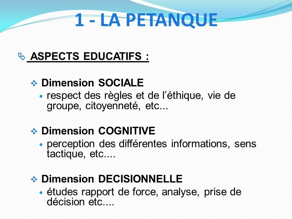 1 - LA PETANQUE Dimension SOCIALE