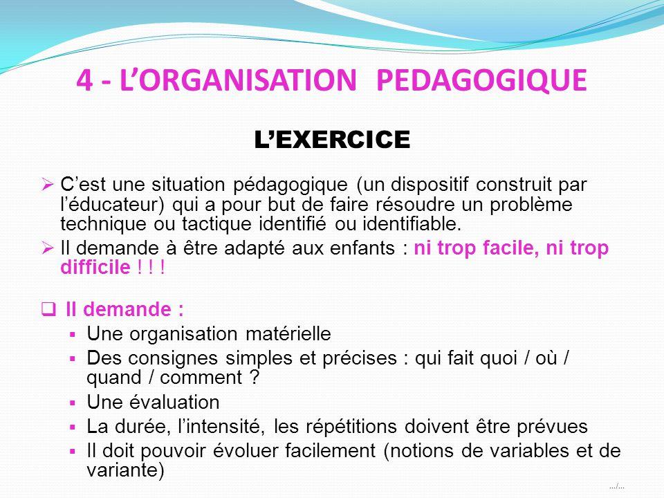 4 - L'ORGANISATION PEDAGOGIQUE