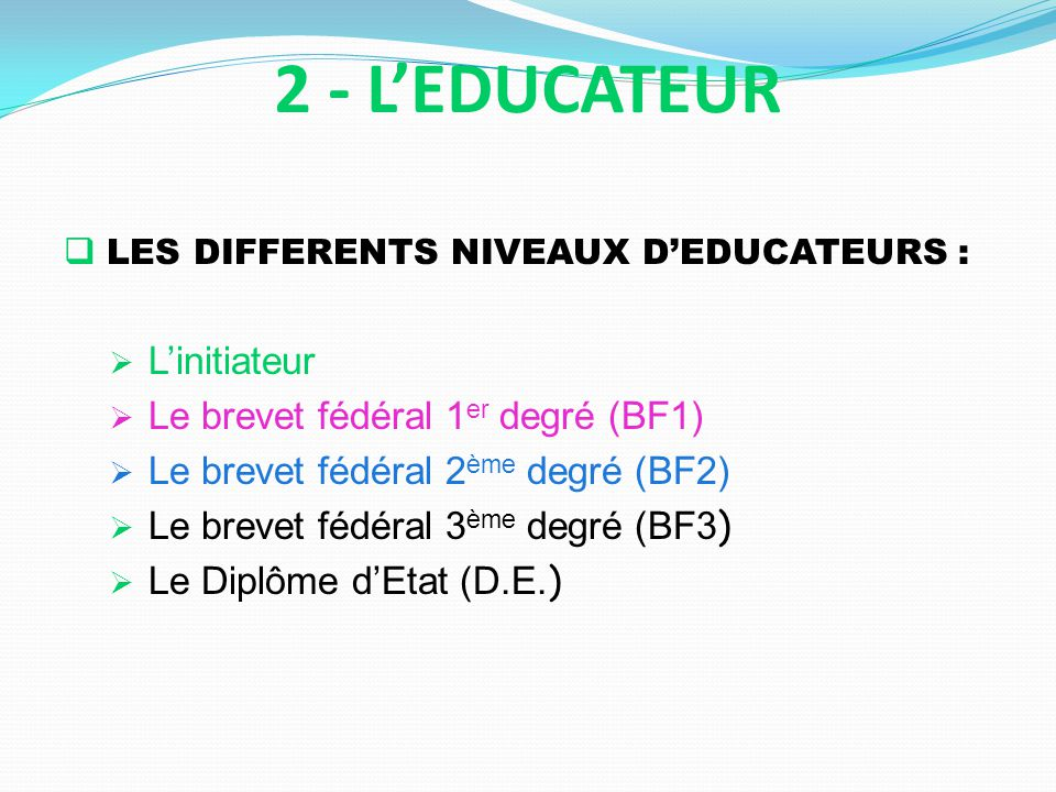 2 - L'EDUCATEUR LES DIFFERENTS NIVEAUX D'EDUCATEURS : L'initiateur