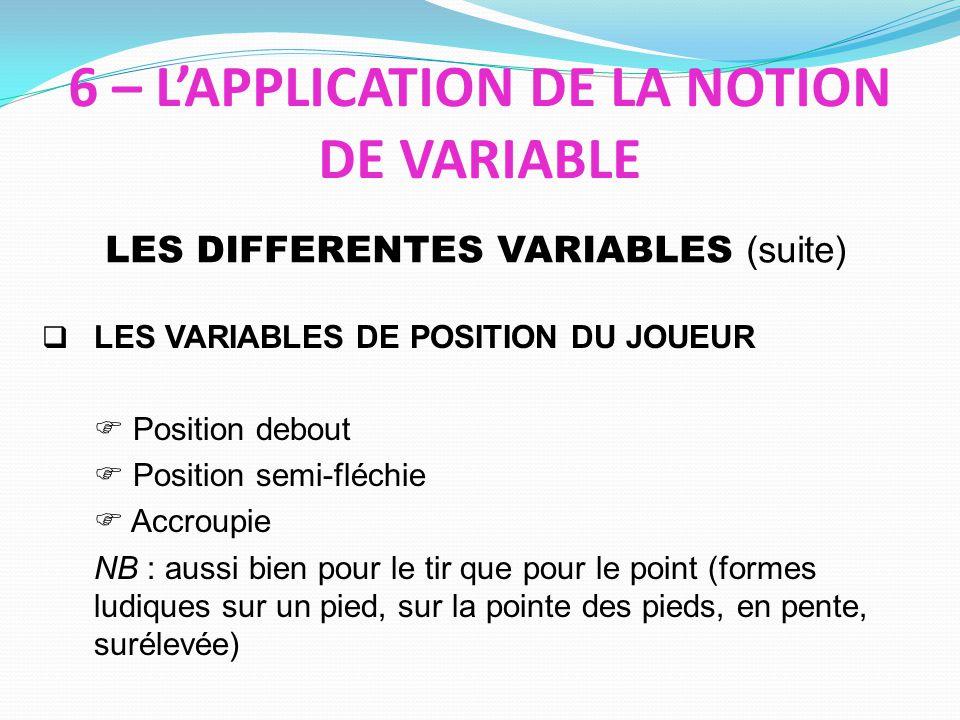 6 – L'APPLICATION DE LA NOTION DE VARIABLE