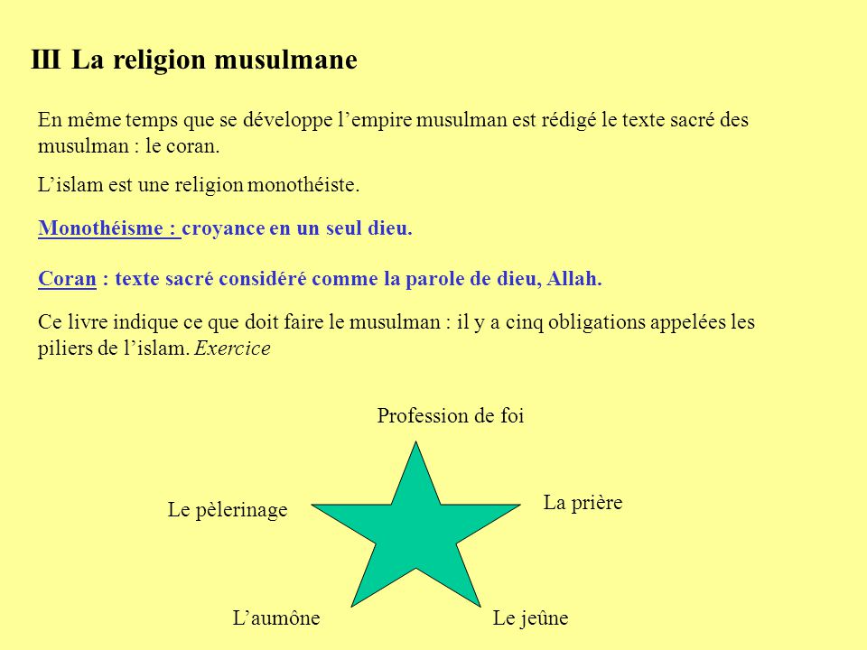 III La religion musulmane