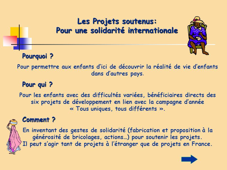 Les Projets soutenus: Pour une solidarité internationale