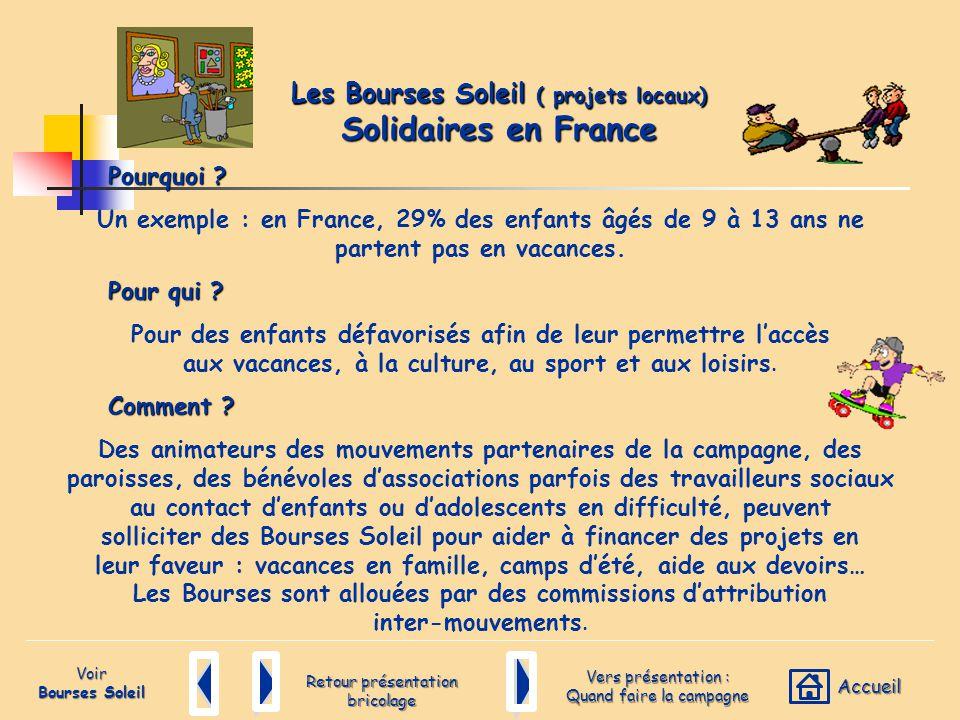 Les Bourses Soleil ( projets locaux) Solidaires en France