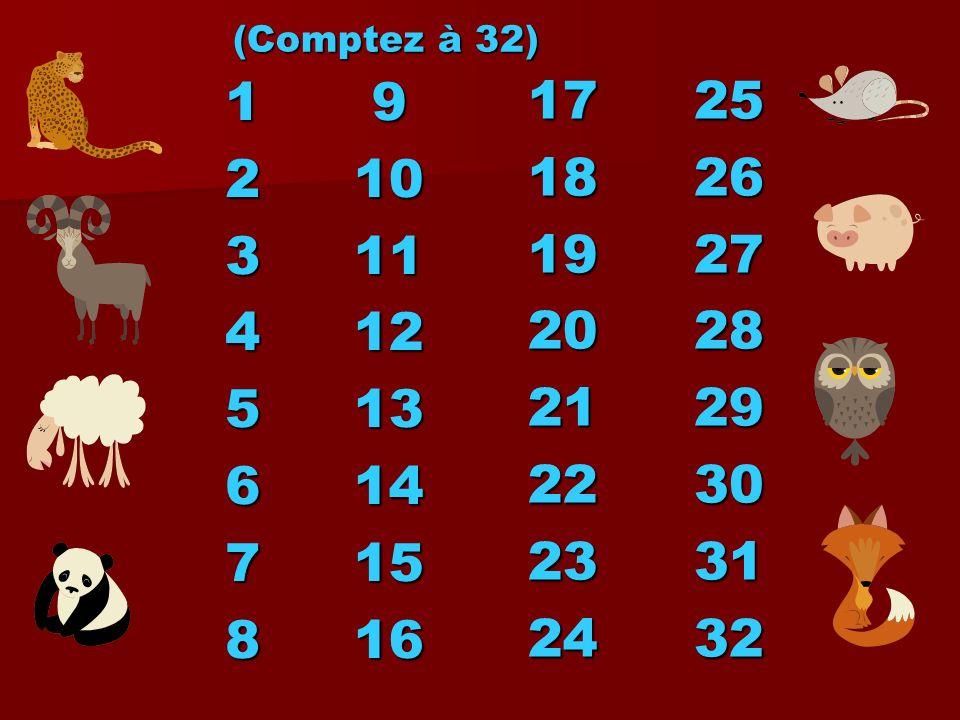 (Comptez à 32)1. 2. 3. 4. 5. 6. 7. 8. 9. 10. 11. 12. 13. 14. 15. 16. 17. 18. 19. 20. 21. 22. 23. 24.