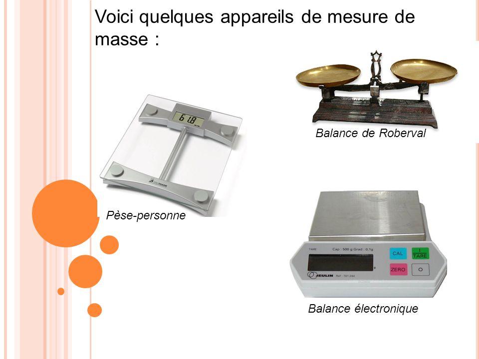 Voici quelques appareils de mesure de masse :
