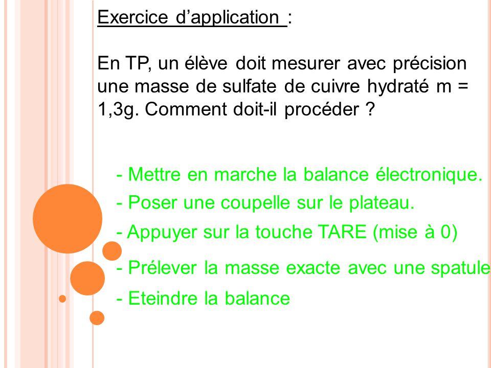 Exercice d'application :