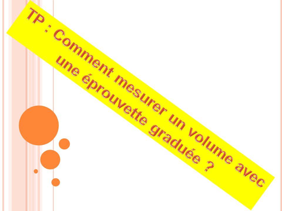 TP : Comment mesurer un volume avec une éprouvette graduée