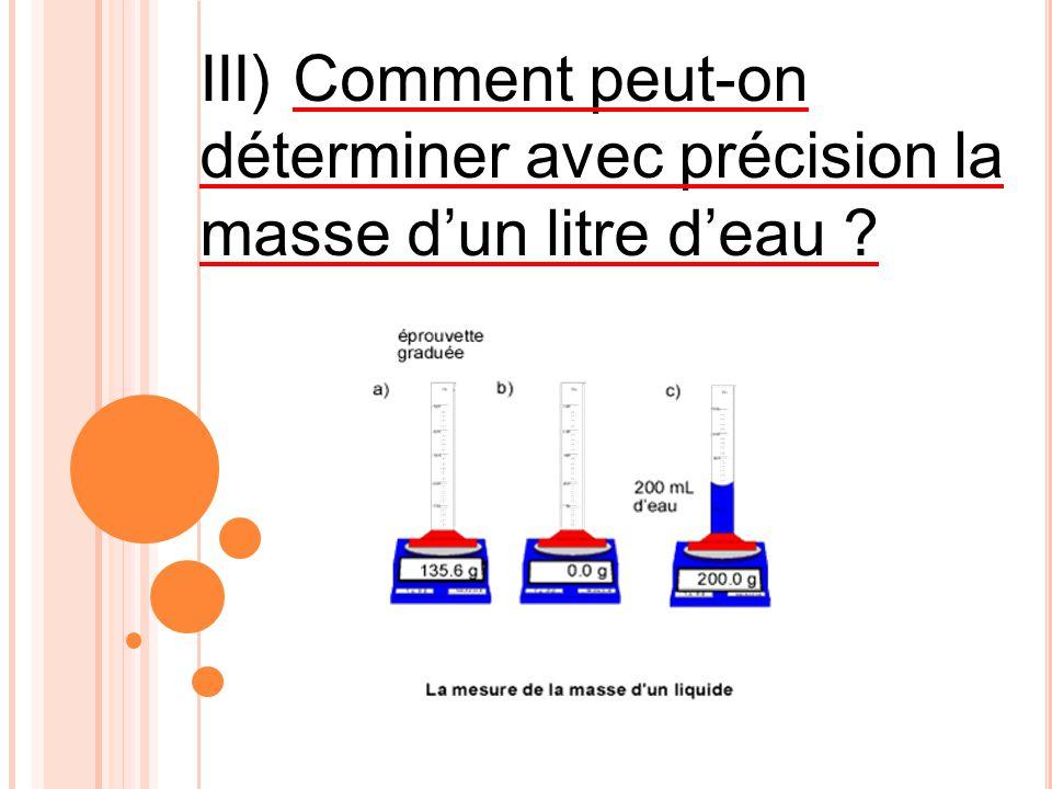 III) Comment peut-on déterminer avec précision la masse d'un litre d'eau