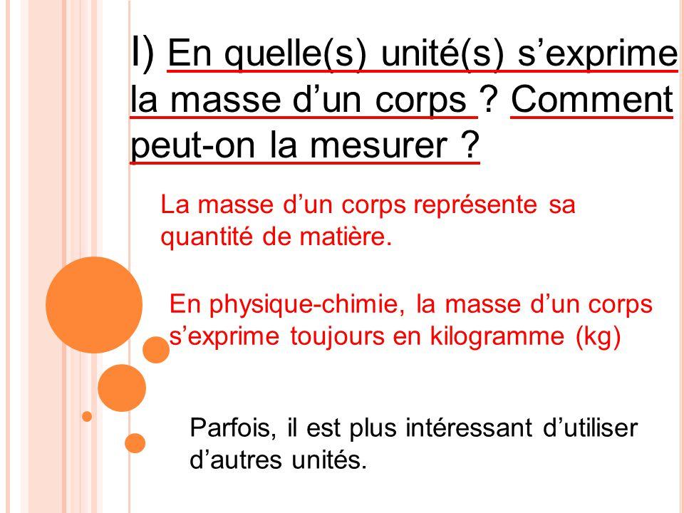 I) En quelle(s) unité(s) s'exprime la masse d'un corps