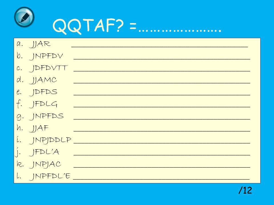 QQTAF =…………………. JJAR ________________________________________________