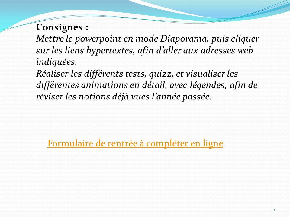 Consignes : Mettre le powerpoint en mode Diaporama, puis cliquer sur les liens hypertextes, afin d'aller aux adresses web indiquées.
