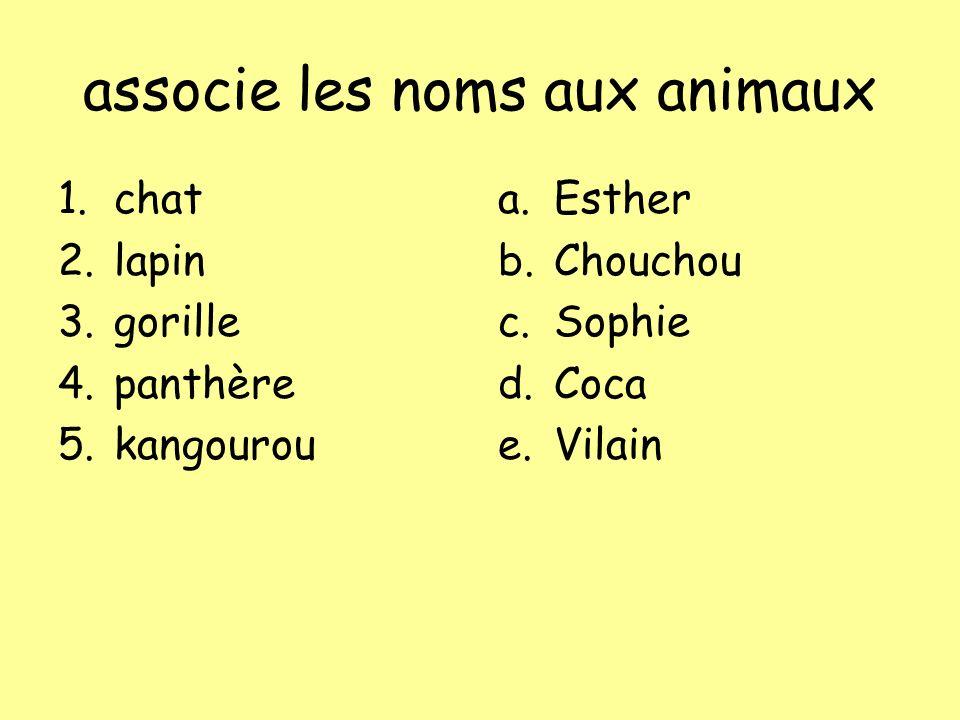 associe les noms aux animaux