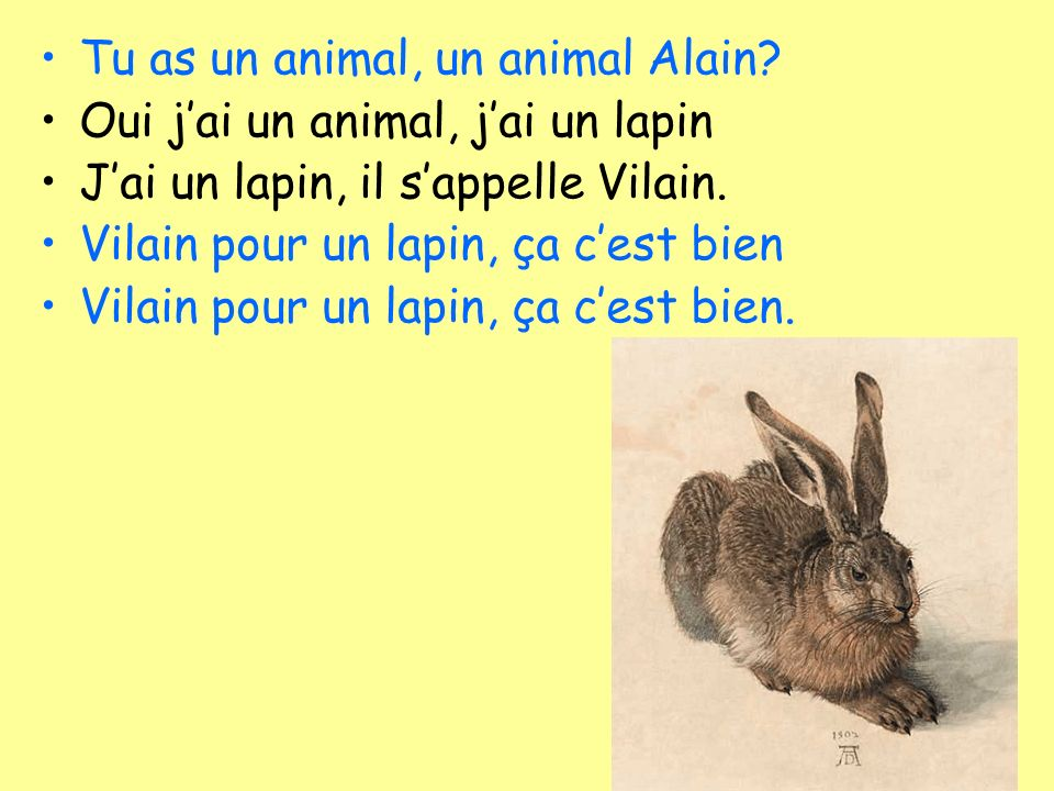 Tu as un animal, un animal Alain