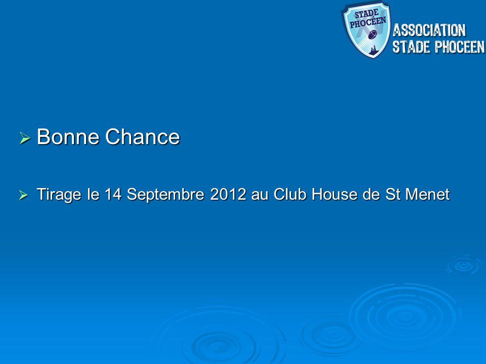 Bonne Chance Tirage le 14 Septembre 2012 au Club House de St Menet