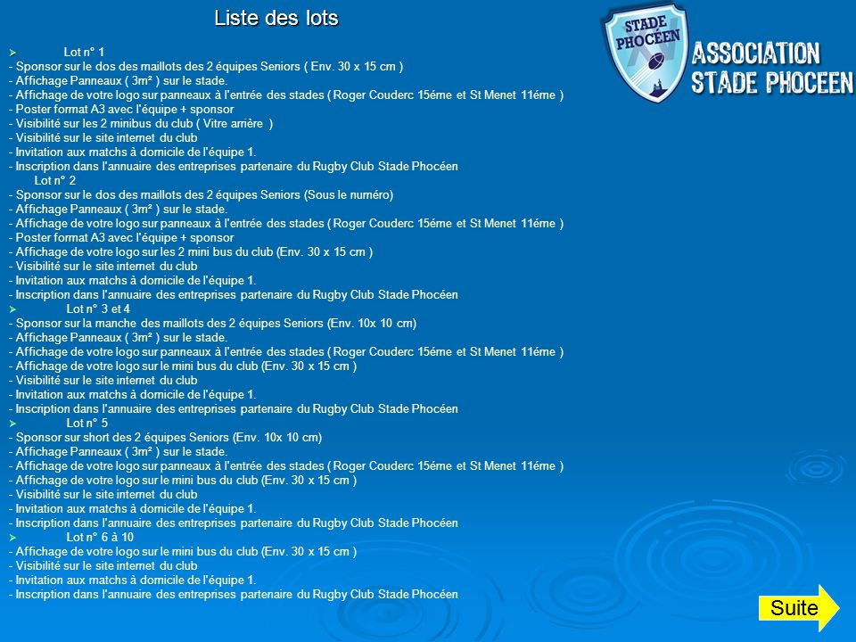 Liste des lots Suite Lot n° 1