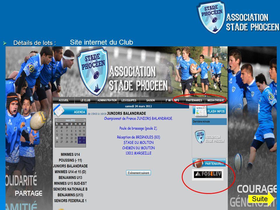 Site internet du Club Détails de lots : Suite