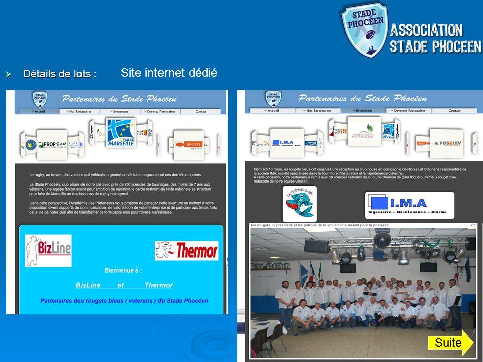Site internet dédié Détails de lots : Suite