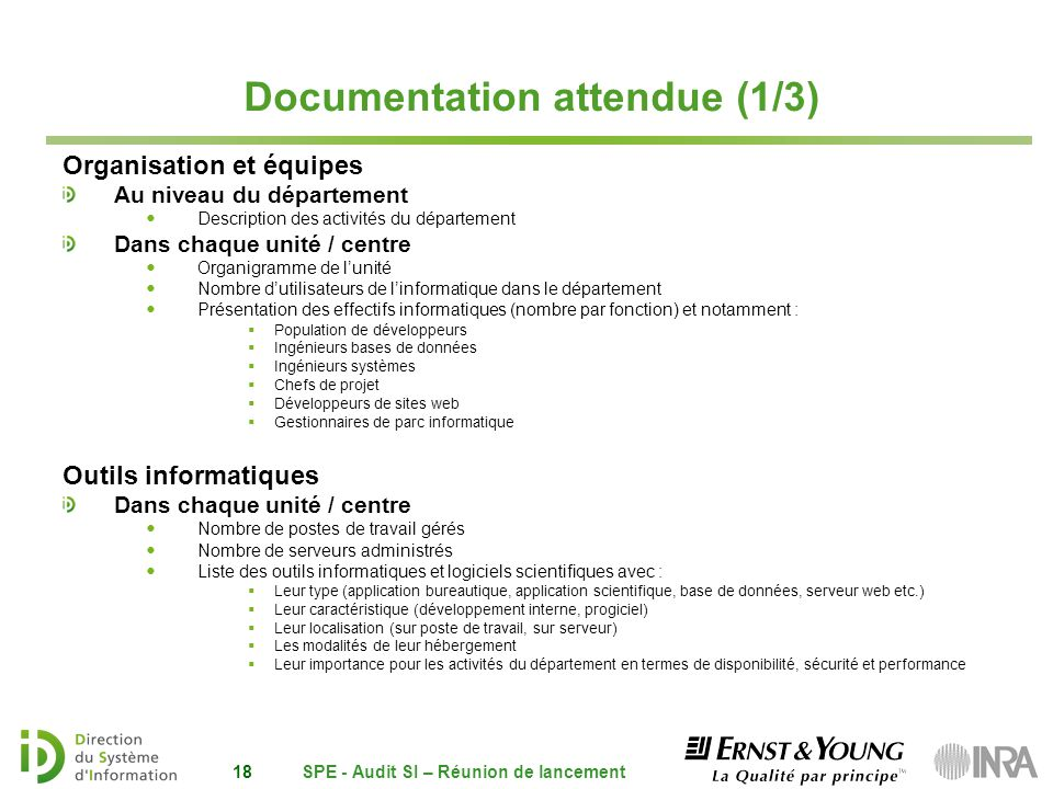 audit si du d u00e9partement spe r u00e9union de lancement 15 octobre ppt t u00e9l u00e9charger