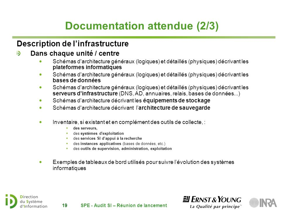 Documentation attendue (2/3)