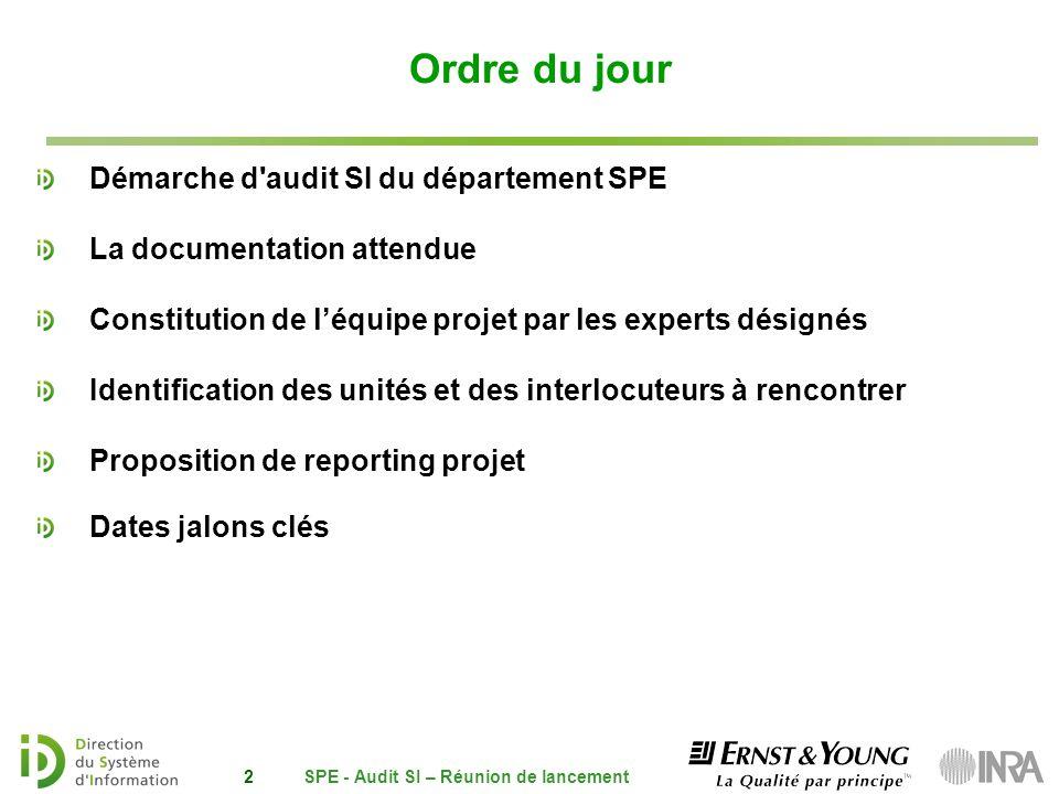SPE - Audit SI – Réunion de lancement